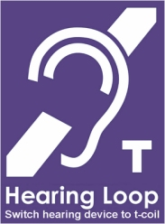 New purple hearing loop t coil sign with ear 2020